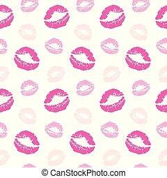 impressões, padrão, seamless, lábios, vetorial, beijo