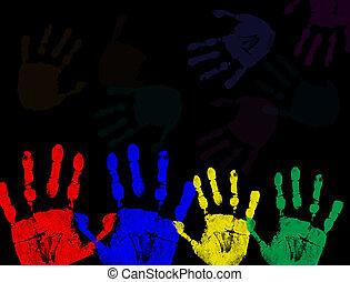 impressões, pretas, isolado, coloridos, mão