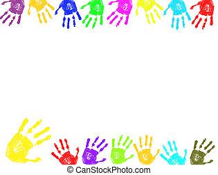 impressões, quadro, coloridos, mão