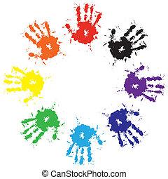 impressões, respingo, tinta, coloridos, mãos