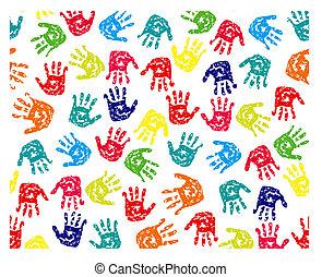 impressões, seamless, padrão, mãos