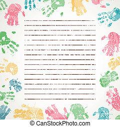 impressões, vetorial, fundo, coloridos, mão