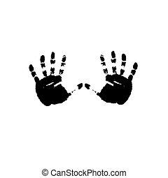 impressões, vetorial, pretas, hands.