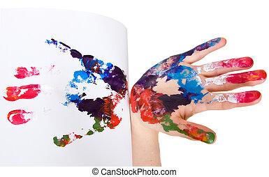 impress of palm on white background