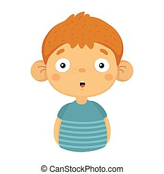 Impressed And Surprised Cute Small Boy With Big Ears In Blue T-shirt, Emoji Portrait Of A Male Child With Emotional Facial Expression