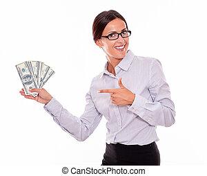 Impressed brunette woman holding dollar bills - Impressed...