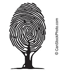 impression, arbre, doigt