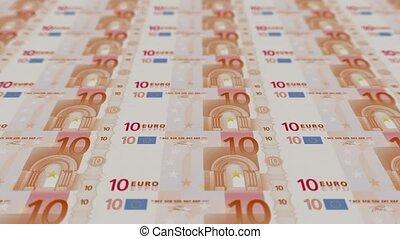 impression, argent, euro, factures, 10