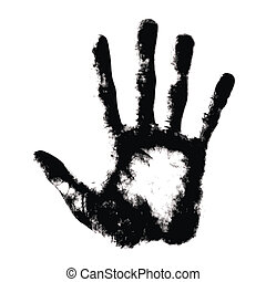 impression, blanc, main