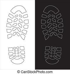 impression, chaussure, illustration