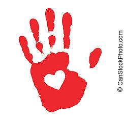 impression, coeur, main, icône