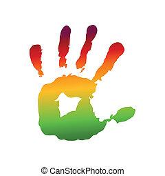 impression, coloré, main