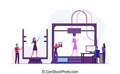 impression, créer, modèle, illustration, additif, vivant, entrepreneurs, vecteur, plat, dessin animé, femme, ingénieurs, imprimante, modelage, laboratory., développement, innovation, 3d, utilisation, technologie, progrès