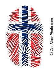 impression, drapeau, norvège, doigt