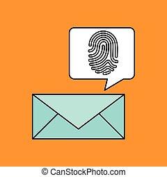 impression, email, conception, doigt, icône