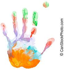 impression, fin, main colorée, haut