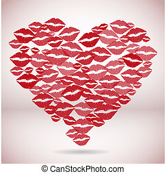 impression, forme coeur, fait, baisers