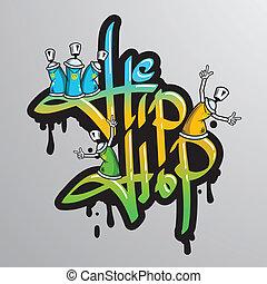 impression, graffiti, mot, caractères