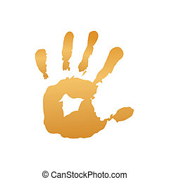 impression, jaune, main