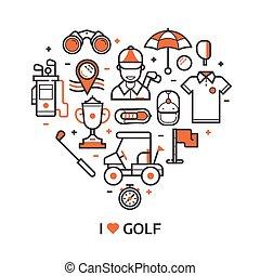 impression, jeu, golf, icônes