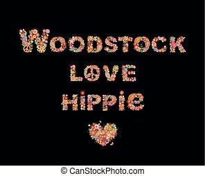 impression, lettrage, amour, hippie, coloré, coeur, affiche, symbole paix, forme, woodstock, conception, t, fond, fête, noir, fleurs, autre, chemise