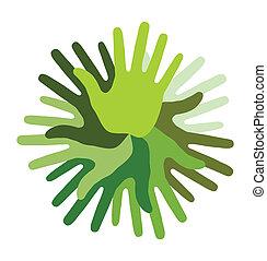 impression, main, vert, icône