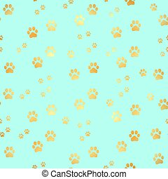 impression, modèle animal, or, patte, fond, chien, seamless, pattern., footprints.