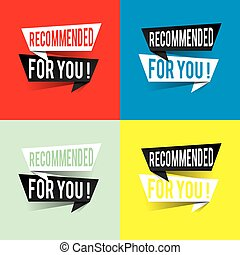 Modern design recommended for you text on speech bubbles concept. Vector illustration