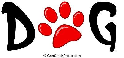 impression, mot, chien, rouges, patte