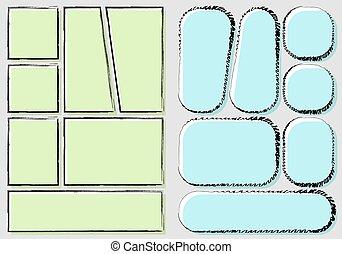 impression, papier, a4, gabarit, créer, style, isolé, ...