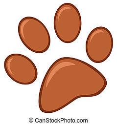 impression, patte, brun