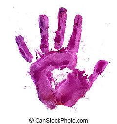 impression, peinture, main humaine