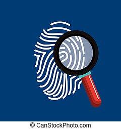 impression, recherche, données, doigt, assurer