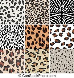 impression, seamless, animal, tissu