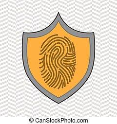 impression, symbole, données, doigt