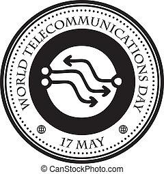 impression, télécommunications, timbre, jour, mondiale