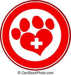 impression, vétérinaire, amour, patte