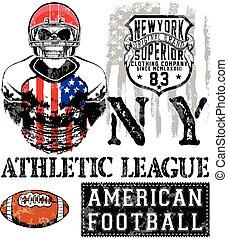 impression, -, vecteur, américain, vendange, football, couleurs, garçon, coutume, vêtements de sport