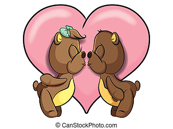 impression, vecteur, amour, ours, cuties