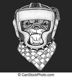 impression, vecteur, athlétique, boxe, animal, bouledogue, emblème, competition., martial, arts., t-shirt, champion., logo., sport, fighter., illustration, dog.