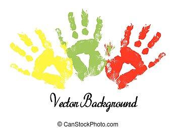 impression, vecteur, coloré, main