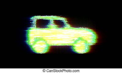 impression, voiture, futuriste, technologie, glitch, style, ...