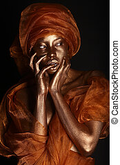 impressionante, africano, amercian, mulher, pintado, com, ouro