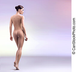 impressionante, beleza feminina, levando, banho