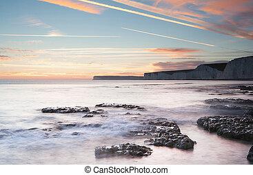 impressionante, summerr, ocaso oceano, com, penhascos, pedras, e, vibrante, cores