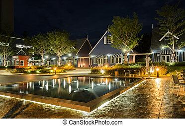 impressionante, vista, de, holandês, estilo, casa