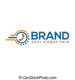 impressione, cerchio, comunicazione, affidabile, telefono, digiuno, vector., logotipo, ha, icona