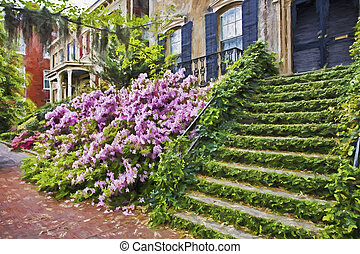 Impressionist art of the historic district of Savannah...