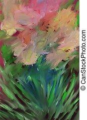 impressionist, blomningen, konst