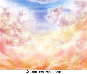 Impressionist clouds - Illustration of golden and pastel...